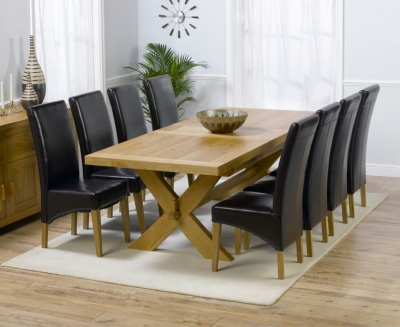 Mark Harris Avignon Solid Oak 200cm Extending Dining Set with 8 Roma Brown Dining Chairs
