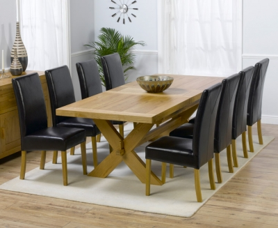 Mark Harris Avignon Solid Oak 200cm Extending Dining Set with 8 Rustique Brown Chairs
