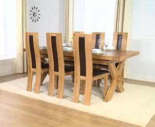 Mark Harris Avignon Solid Oak 200cm Extending Dining Table with 6 Havana Brown Chairs