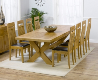 Mark Harris Avignon Solid Oak 200cm Extending Dining Table with 8 Monte Carlo Brown Chairs