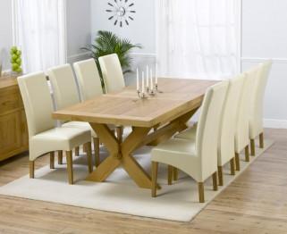 Mark Harris Avignon Solid Oak 200cm Extending Dining Table with 8 Roma Cream Chairs