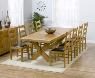 Mark Harris Avignon Solid Oak 200cm Extending Dining Table with 8 Valencia Brown Chairs