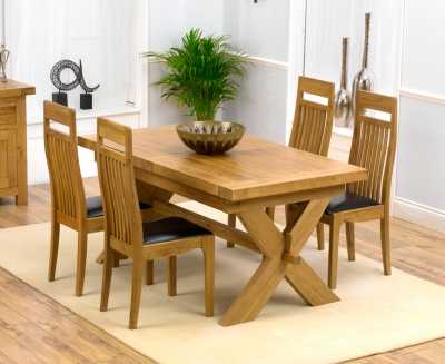 Mark Harris Avignon Oak Extending Dining Table and 4 Monte Carlo Brown Chairs