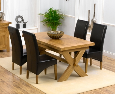 Mark Harris Avignon Oak Extending Dining Table and 4 Roma Brown Chairs