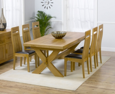 Mark Harris Avignon Oak Extending Large Dining Table and 4 Monte Carlo Brown Chairs