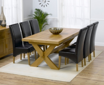 Mark Harris Avignon Oak Extending Large Dining Table and 4 Roma Brown Chairs