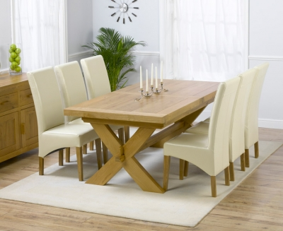 Mark Harris Avignon Oak Extending Large Dining Table and 4 Roma Cream Chairs