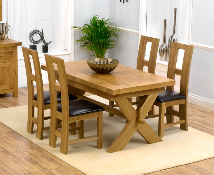 Mark Harris Avignon Solid Oak 160cm Extending Dining Table with 4 John Louis Brown Chairs