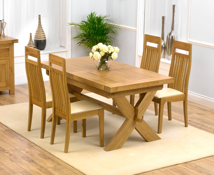 Mark Harris Avignon Solid Oak 160cm Extending Dining Table with 4 Monte Carlo Cream Chairs