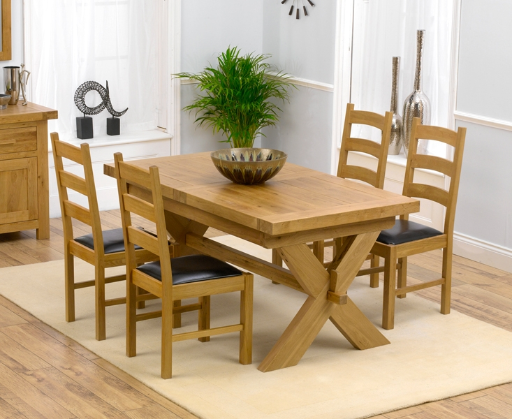 Mark Harris Avignon Solid Oak 160cm Extending Dining Table with 4 Valencia Brown Chairs