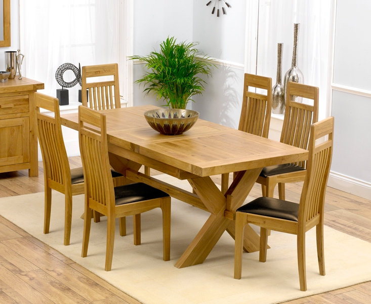 Mark Harris Avignon Solid Oak 160cm Extending Dining Table with 6 Monte Carlo Brown Chairs