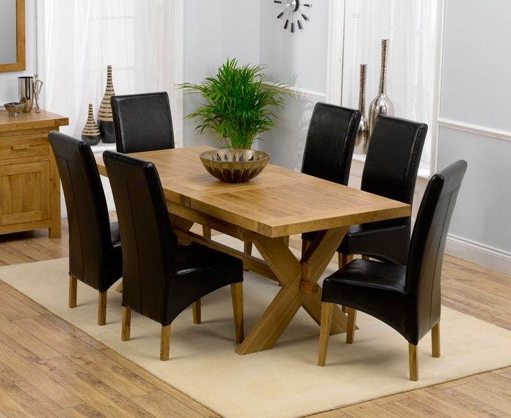 Mark Harris Avignon Solid Oak 160cm Extending Dining Table with 6 Roma Brown Chairs