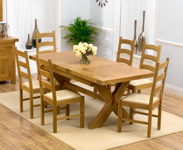 Mark Harris Avignon Solid Oak 160cm Extending Dining Set with 6 Valencia Cream Dining Chairs