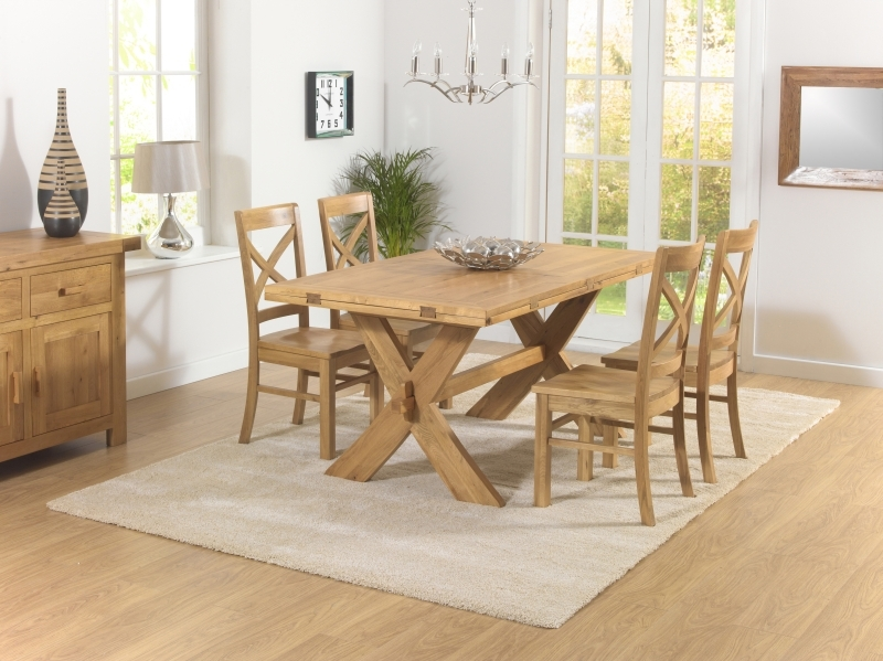 Mark Harris Avignon Solid Oak 165cm Extending Dining Set with 4 Cavanaugh Oak Dining Chairs
