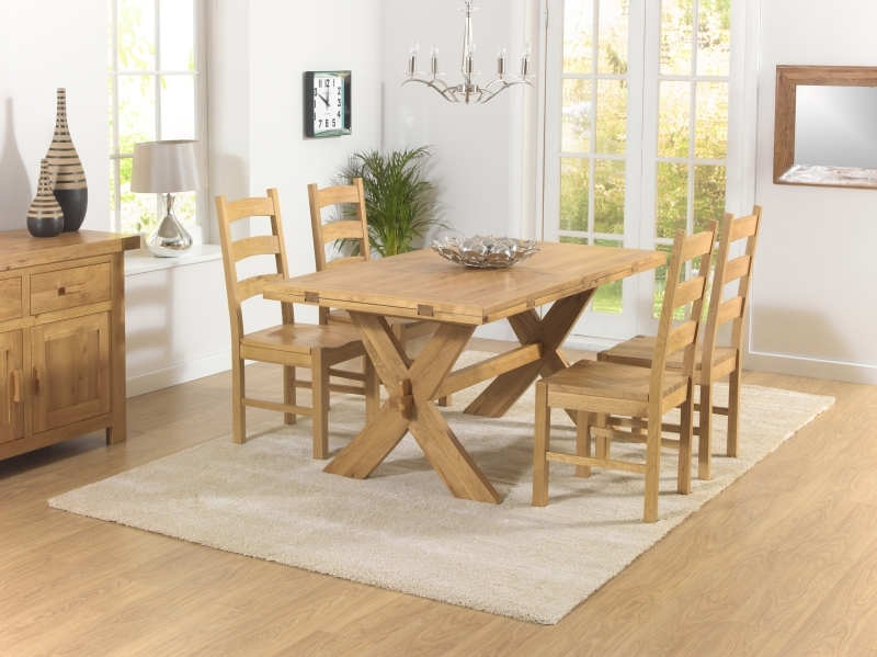Mark Harris Avignon Solid Oak 165cm Extending Dining Set with 4 Valencia Timber Dining Chairs
