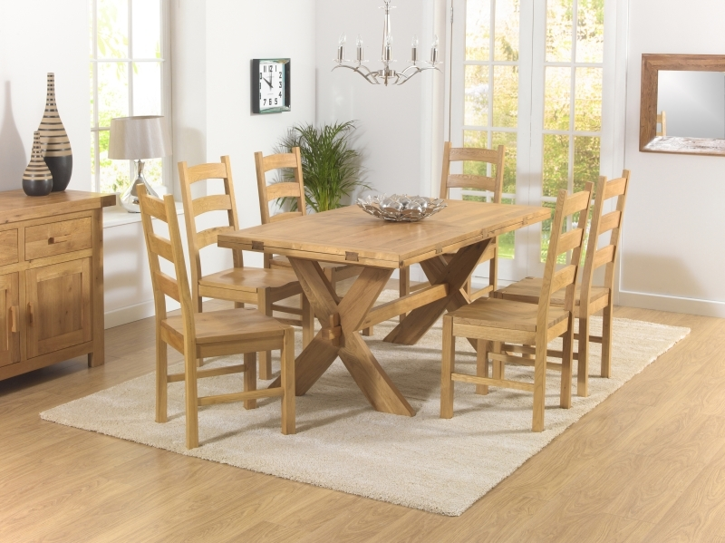 Mark Harris Avignon Solid Oak 165cm Extending Dining Set with 6 Valencia Timber Dining Chairs