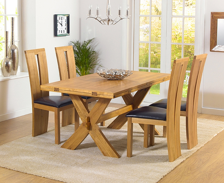 Mark Harris Avignon Solid Oak 165cm Extending Dining Set with 4 Arizona Brown Chairs