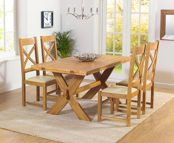 Mark Harris Avignon Solid Oak 165cm Extending Dining Table with 4 Canterbury Cream Chairs