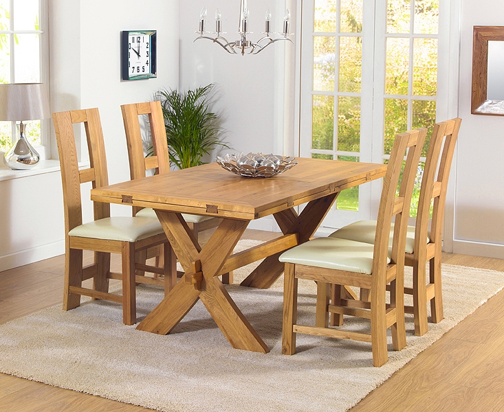 Mark Harris Avignon Solid Oak 165cm Extending Dining Set with 4 John Louis Cream Chairs
