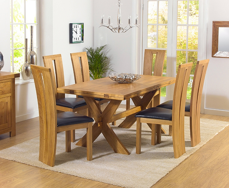 Mark Harris Avignon Solid Oak 165cm Extending Dining Table with 6 Arizona Brown Chairs