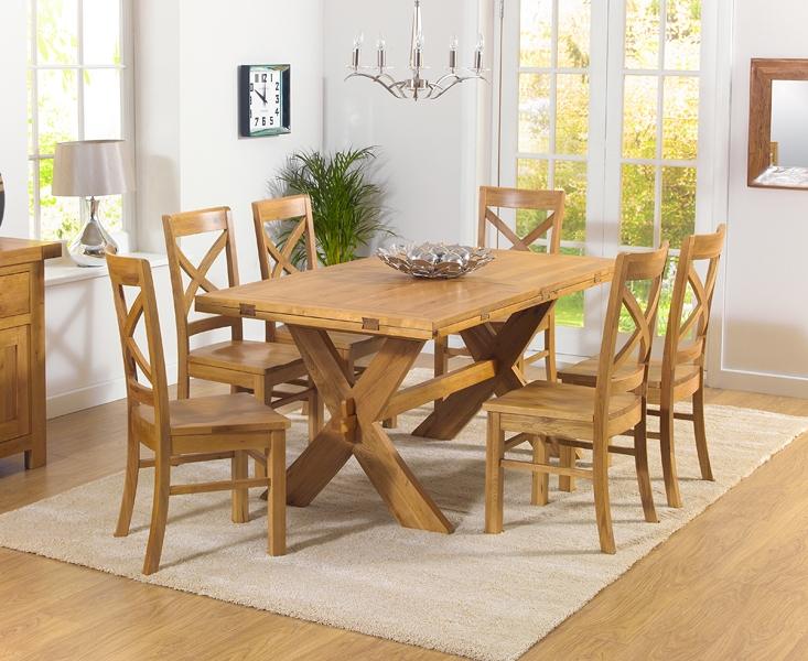 Mark Harris Avignon Solid Oak 165cm Extending Dining Table with 6 Cavanaugh Oak Chairs