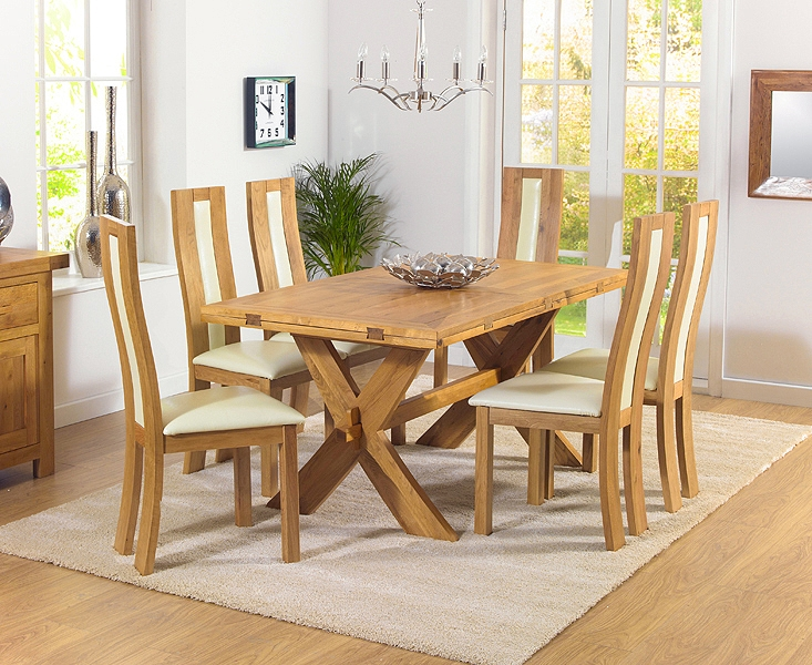 Mark Harris Avignon Solid Oak 165cm Extending Dining Table with 6 Havana Cream Chairs