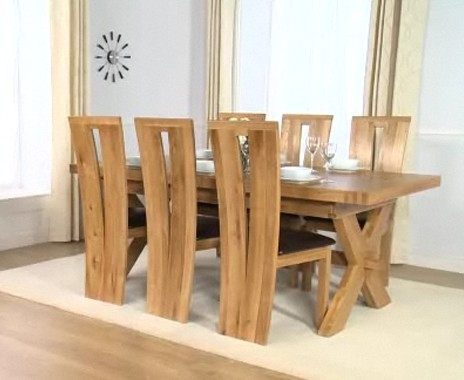 Mark Harris Avignon Solid Oak 200cm Extending Dining Table with 6 Arizona Brown Chairs