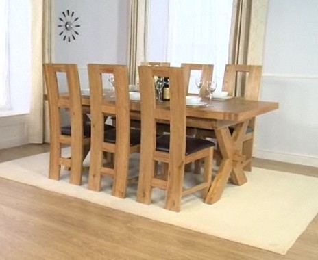 Mark Harris Avignon Solid Oak 200cm Extending Dining Table with 6 John Louis Brown Chairs