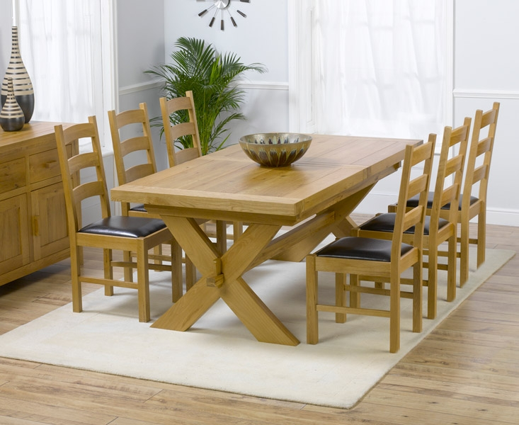 Mark Harris Avignon Solid Oak 200cm Extending Dining Set with 6 Valencia Brown Dining Chairs