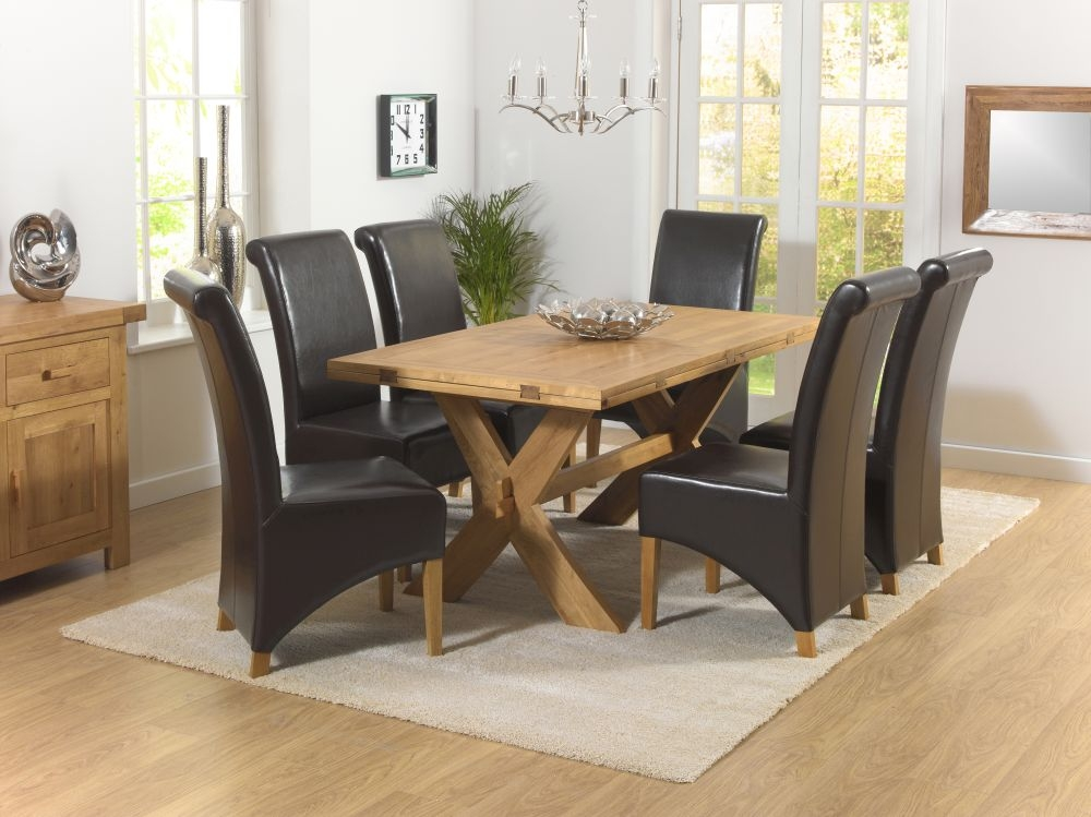 Mark Harris Avignon Solid Oak Dining Set - 165cm Extending with 4 Barcelona Brown Chairs