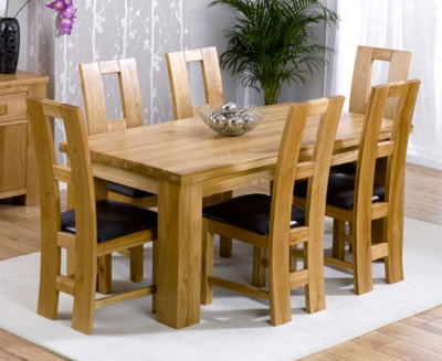 Mark Harris Barcelona Solid Oak 180cm Dining Set with 6 John Louis Brown Dining Chairs