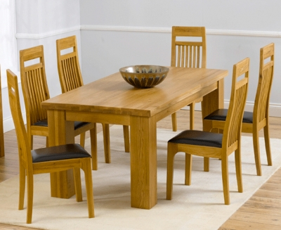 Mark Harris Barcelona Solid Oak 180cm Dining Set with 6 Monte Carlo Brown Dining Chairs