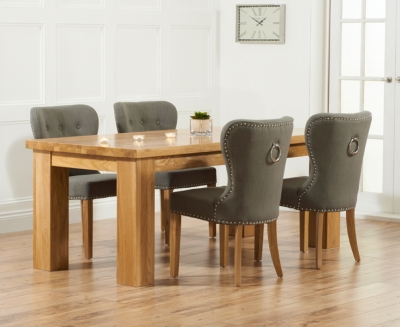 Mark Harris Barcelona Solid Oak 200cm Dining Set with 4 Kalim Grey Dining Chairs