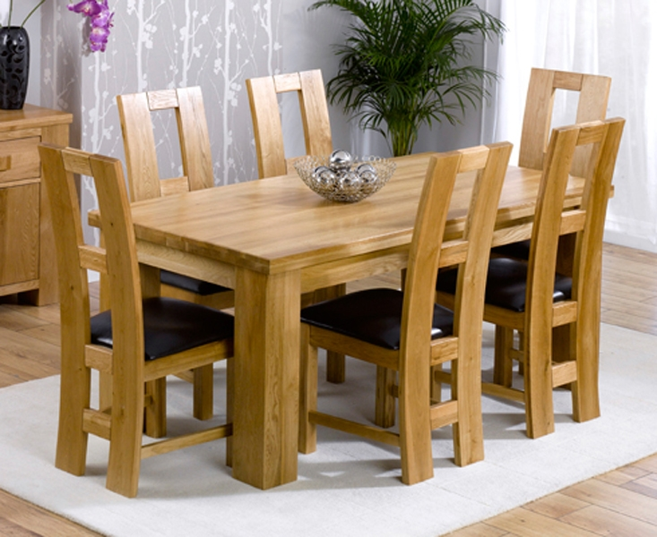 Mark Harris Barcelona Solid Oak 180cm Dining Set with 6 John Louis Brown Chairs