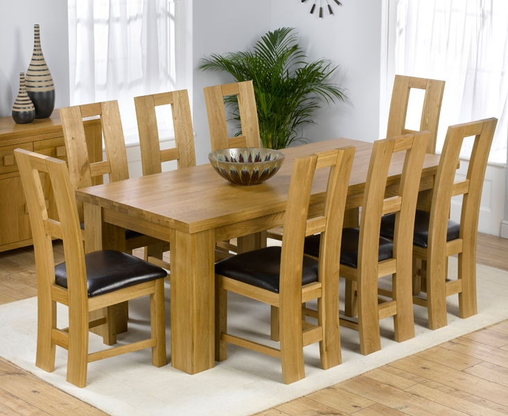 Mark Harris Barcelona Solid Oak 200cm Dining Set with 8 John Louis Brown Dining Chairs