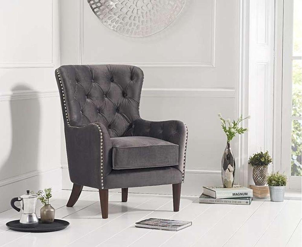 Mark Harris Barton Accent Chair - Dark Grey Velvet