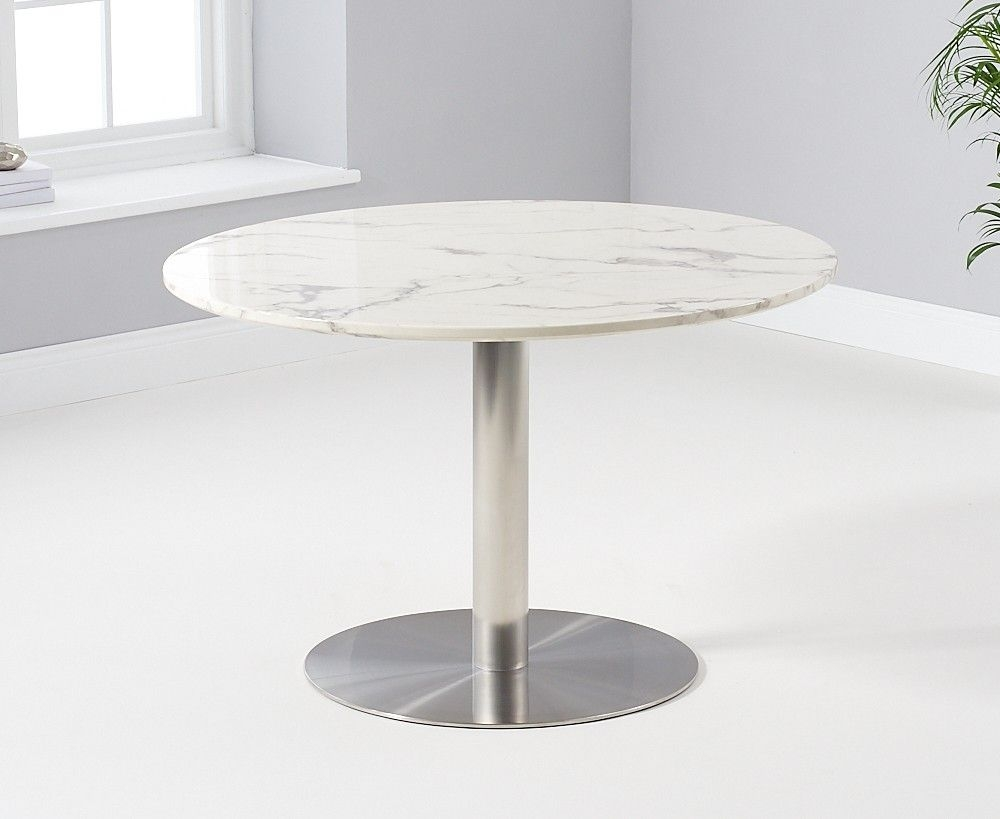 Mark Harris Battista Round White Marble Effect Top 120cm Dining Table