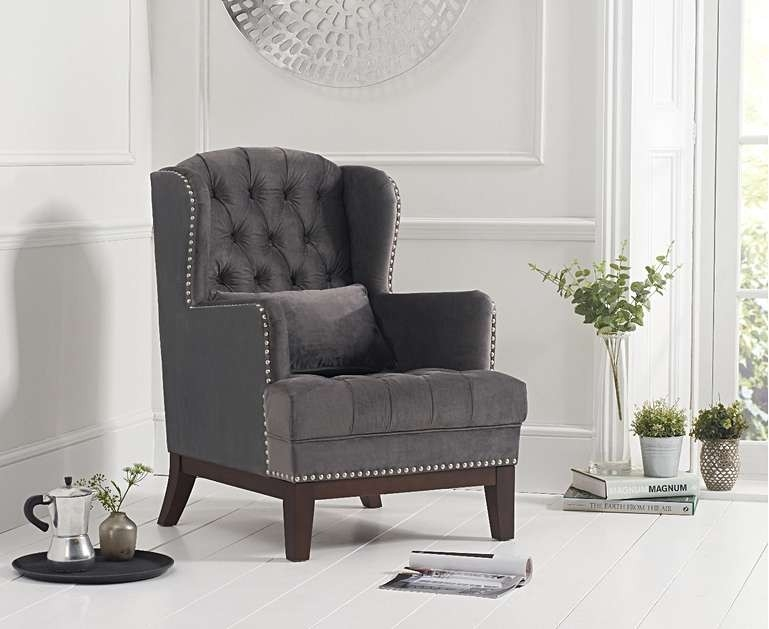 Mark Harris Bayes Accent Chair - Dark Grey Velvet