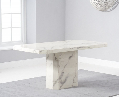 Mark Harris Becca White Engineered Marble 160cm Dining Table