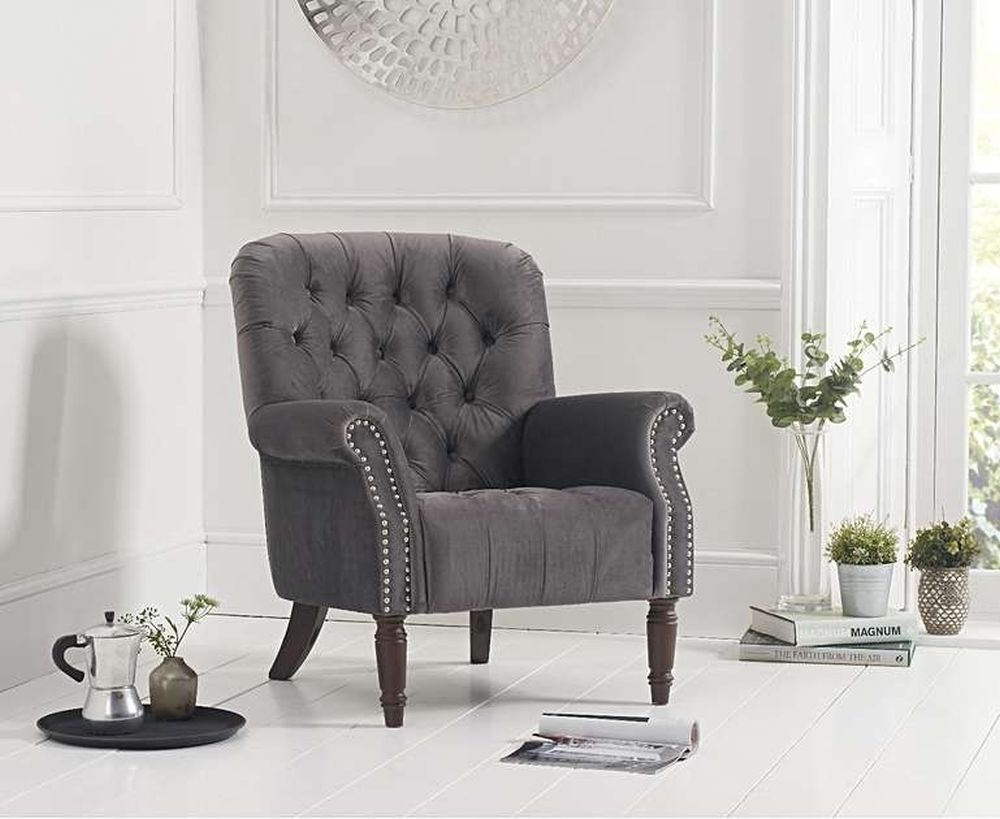 Mark Harris Becket Dark Grey Velvet Accent Chair
