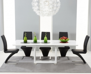 Mark Harris Beckley White High Gloss Dining Set with 6 Black Hereford Dining Chairs