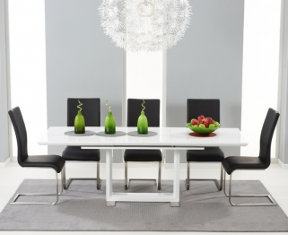 Mark Harris Beckley White High Gloss Dining Set with 6 Black Malibu Dining Chairs