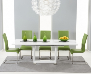 Mark Harris Beckley White High Gloss Dining Set with 6 Green Malibu Dining Chairs