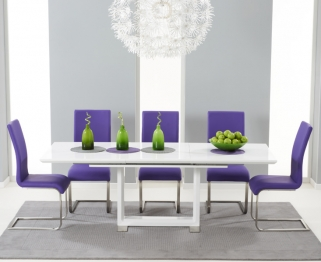 Mark Harris Beckley White High Gloss Dining Set with 6 Purple Malibu Dining Chairs