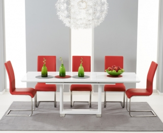 Mark Harris Beckley White High Gloss Dining Set with 6 Red Malibu Dining Chairs