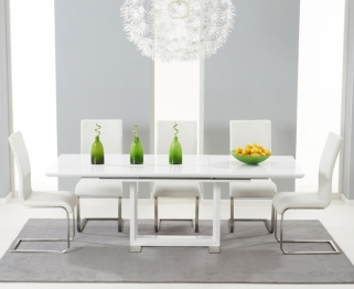 Mark Harris Beckley White High Gloss Dining Set with 6 Ivory Malibu Dining Chairs