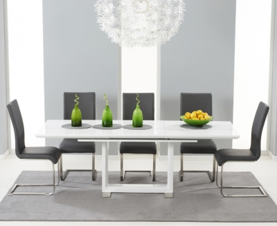Mark Harris Beckley White High Gloss Extending Dining Table and 6 Malibu Grey Chairs