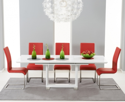 Mark Harris Beckley White High Gloss Extending Dining Table and 6 Malibu Red Chairs