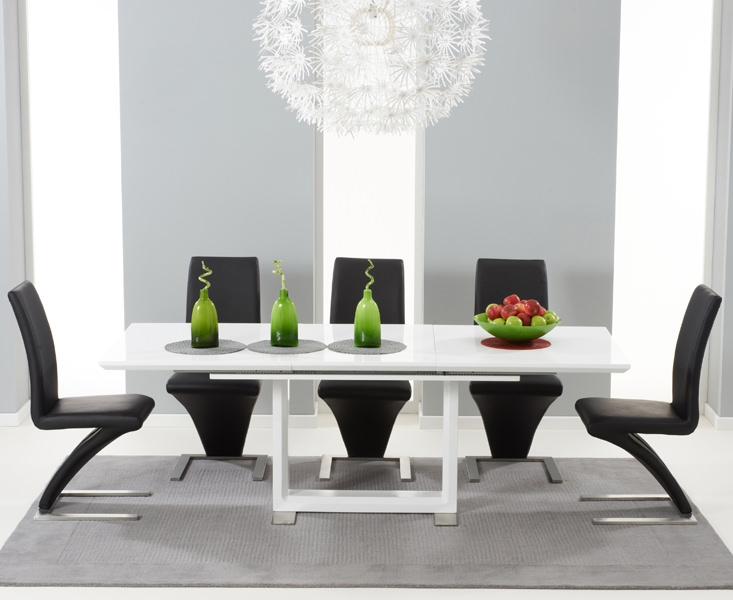 Marvelous Mark Harris Beckley White High Gloss Dining Set With 6 Black Hereford Dining  Chairs