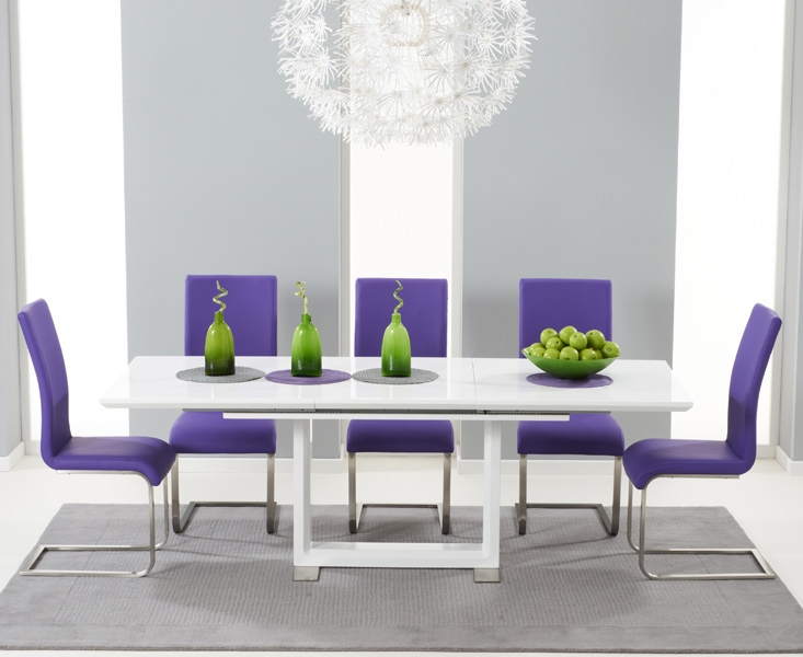 Mark Harris Beckley White High Gloss Dining Set - with 6 Purple Malibu Chairs